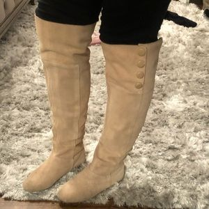 Over the Knee Boots, Suede, Tan/Light